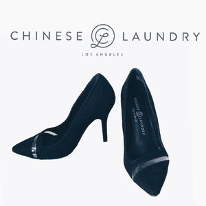 CHINESE LAUNDRY BLACK FAUX SUEDE PUMPS